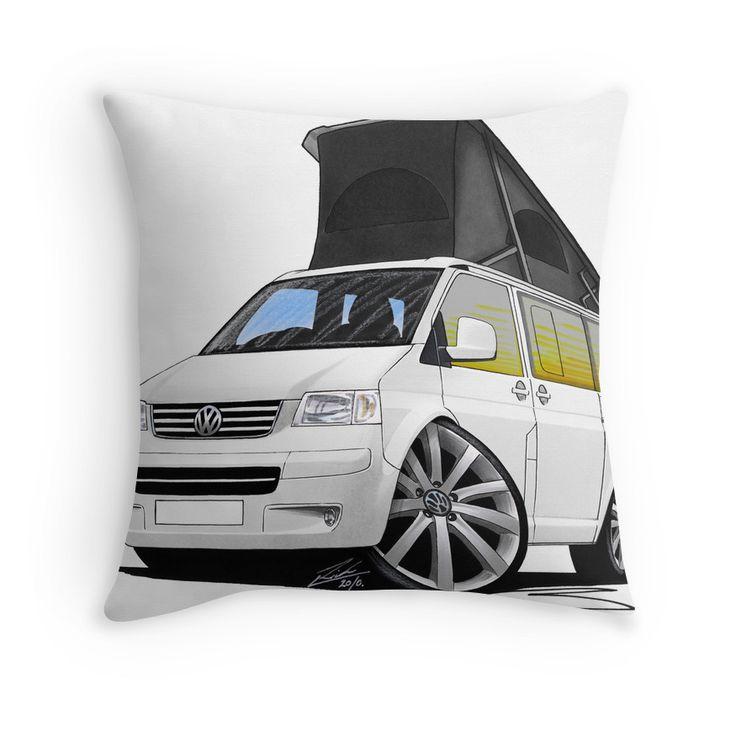VW T5 California Camper Van White (10-Spoke Wheels) Throw Pillows