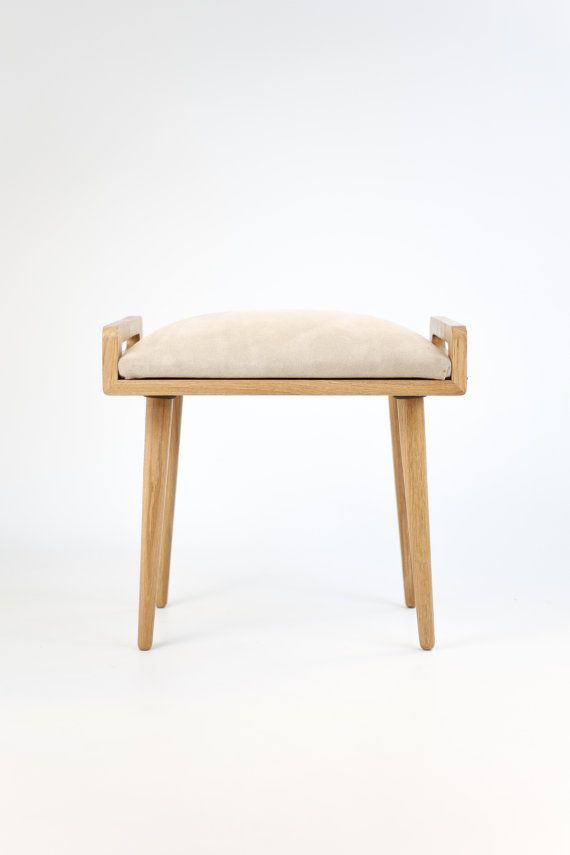 Stool / Seat / stool / Ottoman / bench made of solid oak table, oak legs, Upholstered in suede camel color
