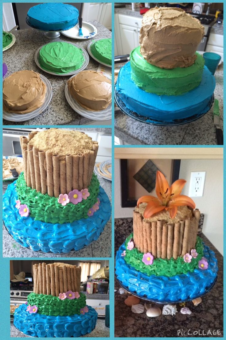 Three tier hawaiian theme cake! #desserts #cakes #beachtheme #hawaiiantheme #layeredcake #easy #wafers #pirouettes #creativedesserts #dessertsbylexi