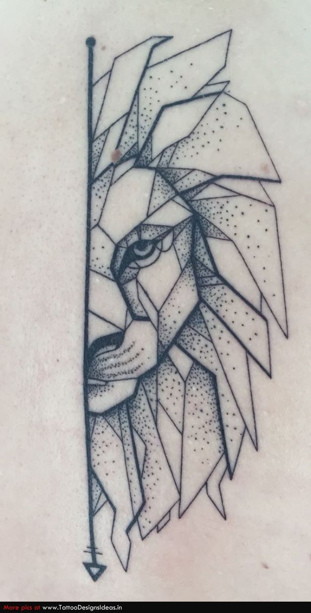 Line Drawing Face Tattoo : My geometric lion with dotwork tattoos pinterest
