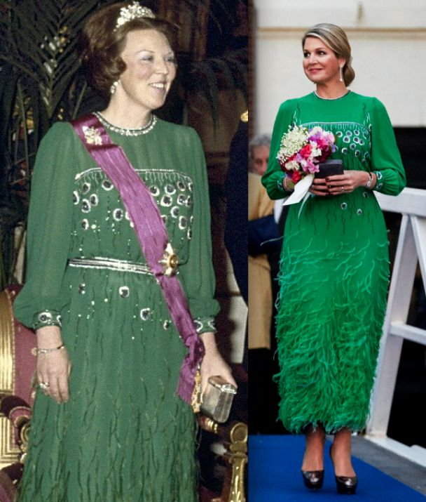 Queen Maxima wears a dress previous worn by her mother-in-law Princess Beatrix in 1981