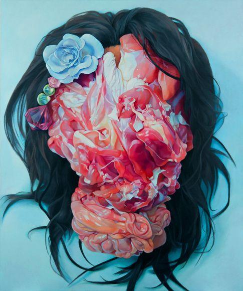 darksilenceinsuburbia:  Korehiko Hino. Japanese artist Korehiko Hino paints very large portraits that are instantly recognizable. Bodies, be...