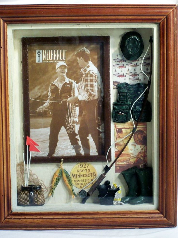 Outdoorsman Fly Fishing Trophy Diorama Shadow Box 3d Photo