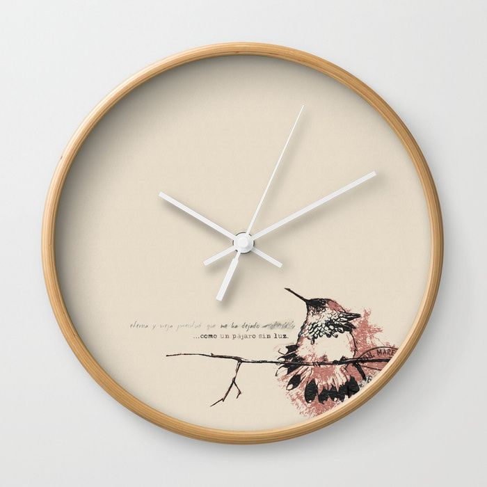 """Available in natural wood, black or white frames, our 10"""" diameter unique Wall Clocks feature a high-impact plexiglass crystal face and a backside hook for easy hanging. Choose black or white hands to match your wall clock frame and art design choice. Clock sits 1.75"""" deep and requires 1 AA battery (not included).  #new #clock in my #society6 #shop #hummingbird #original #design"""