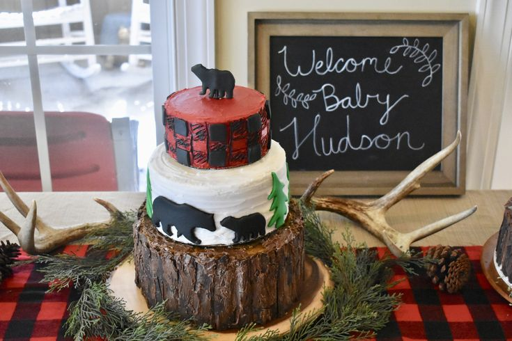 Buffalo Plaid Woodland Bears Baby Shower Cake Tree