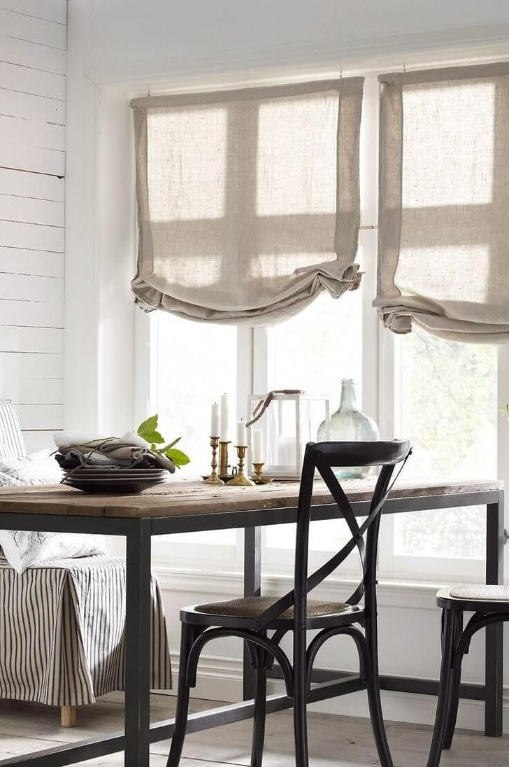 White Kitchen With Nacl Roman Shades From Spiffy Spools Dining Room Window Treatments Dining Room Curtains Dining Room Windows