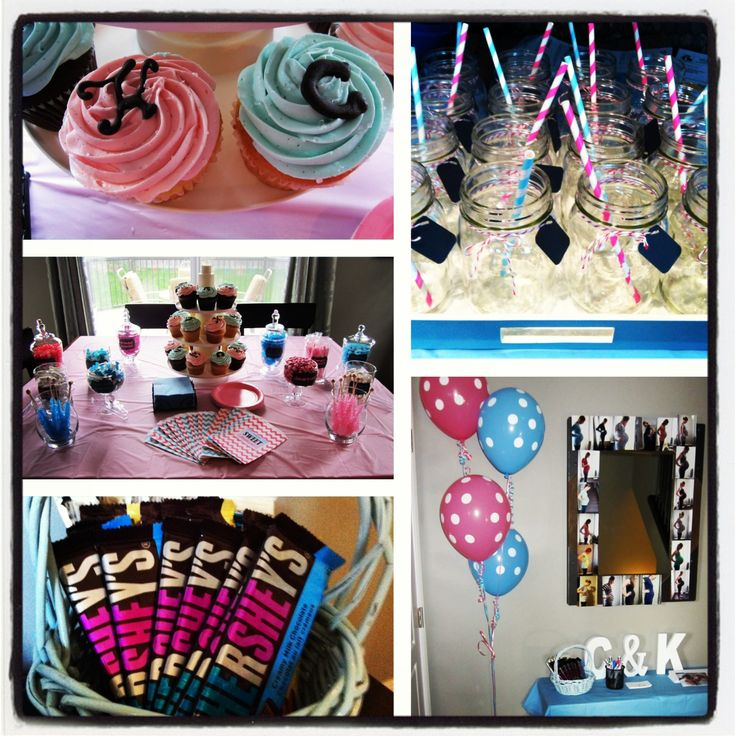 Twin baby shower theme was pink and blue for a girl and a for Baby shower decoration ideas for twin girls