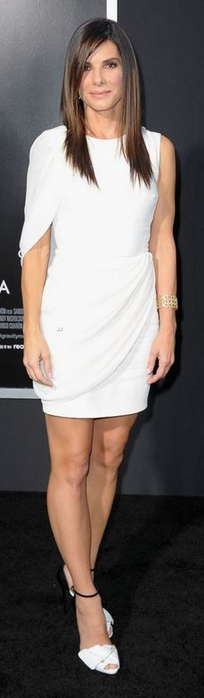Who made  Sandra Bullock's white dress, sandals, and jewelry that she wore in New York on October 1, 2013?