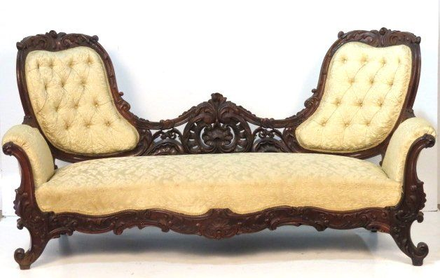 VICTORIAN CARVED ROSEWOOD SOFA : Lot 216