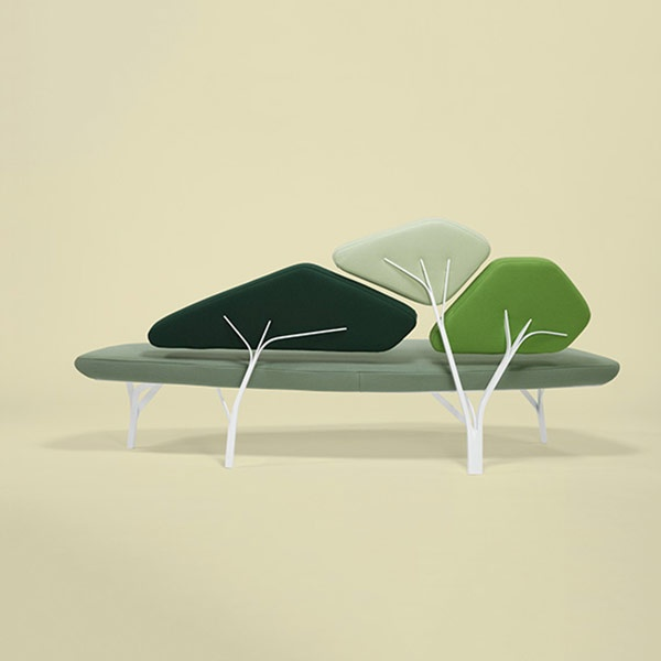 Borghese is a light sofa inspired by the stone pines of the Villa Borghese in Roma.