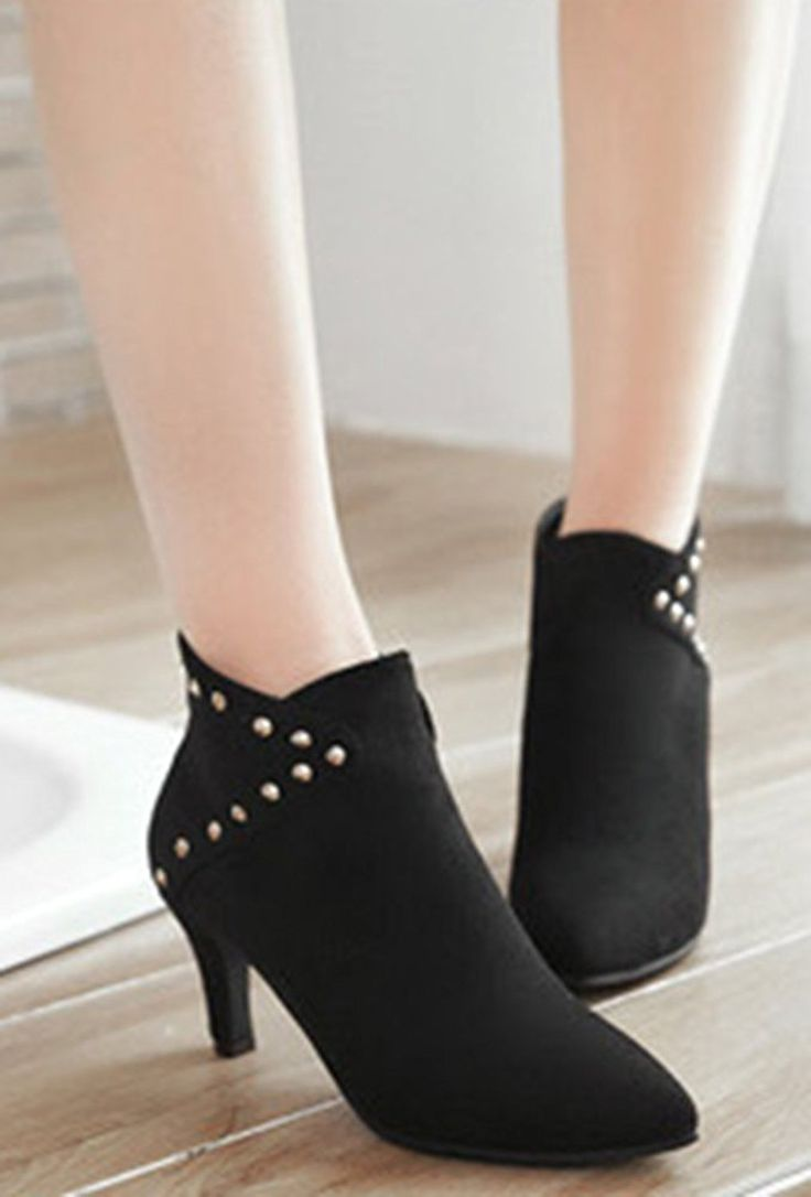 Women's Dressy Studded Pointed Toe Mid Chunky Heels Slip On Short Oxfords Booties
