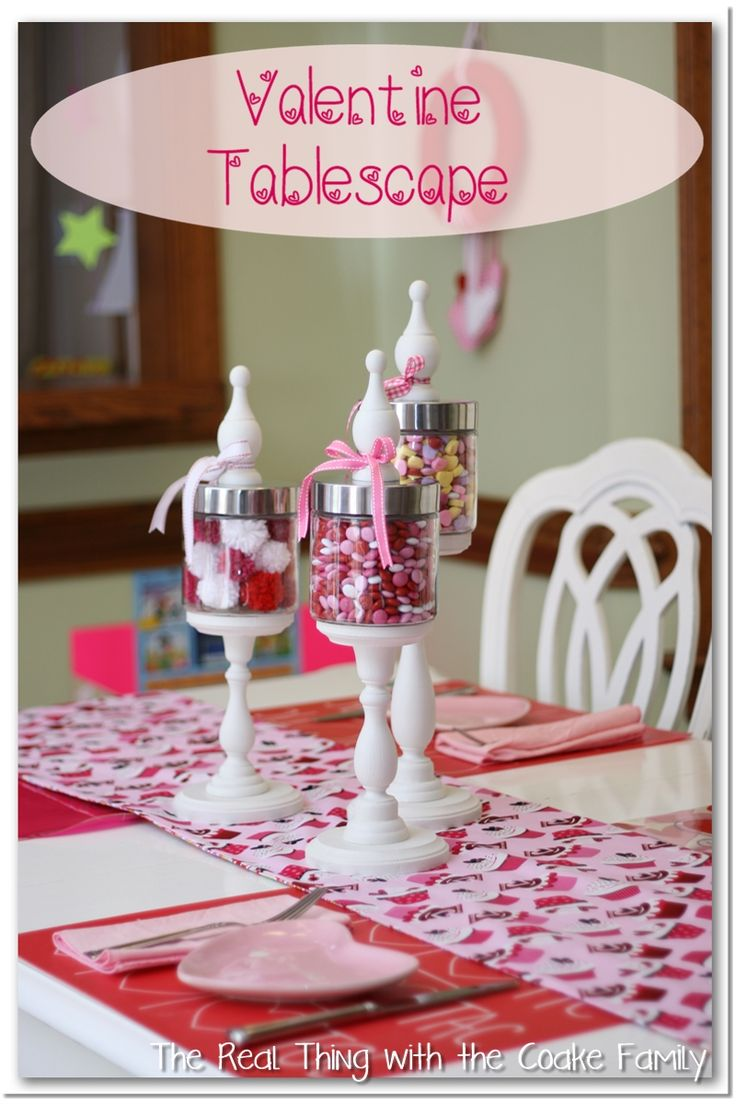 Valentine 39 s table ideas with table runner and apothecary for Diy valentine table runner