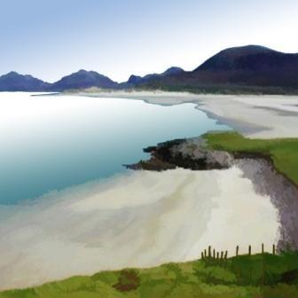 Scottish Artist Ian LEDWARD - Hebridean Beach