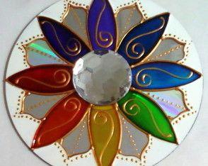 Mandala Felicidade em CD reciclado