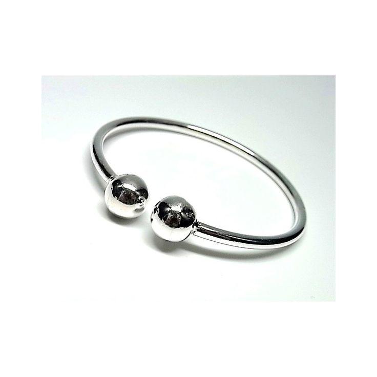 Pulsera de plata de primera ley lisa estilo brazalete con dos bolas lisas