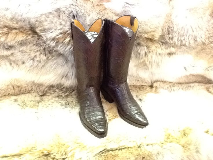 Lucchese Classic's, Cowboy Boots Handmade in El Paso TX! Chocolate Caiman Boots for your cowgirl soul! kemosabe.com