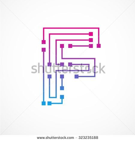 Abstract letter F logo design template,technology,electronics,digital,dot connection cross