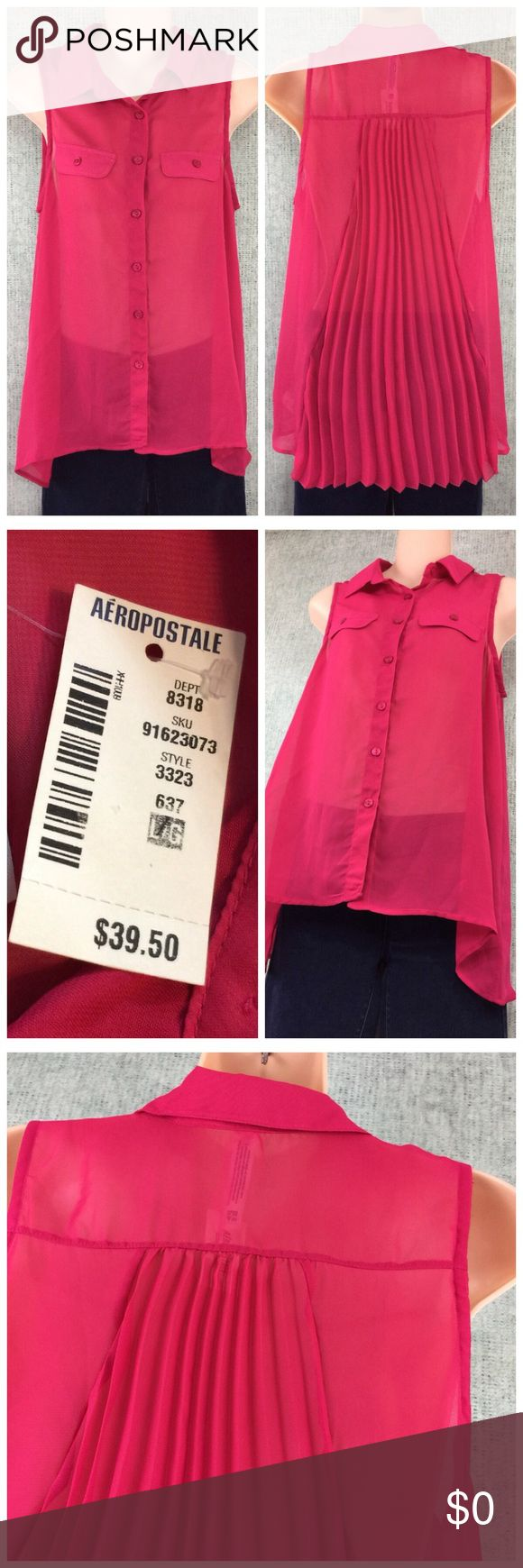 "Aeropostale Hi/Lo Semi Sheer Size Large NWT Made by: Aeropostale Size Large Semi Sheer Summer Button front w/accordion Design Back; Top Shirt Blouse. 100% Polyester Measurements: Underarm to UA 19"" Mid-neck to hem Front 23"" Back 26.5"". NWT. Bundle to SaVe. Thank you for browsing my closet. Aeropostale Tops Button Down Shirts"