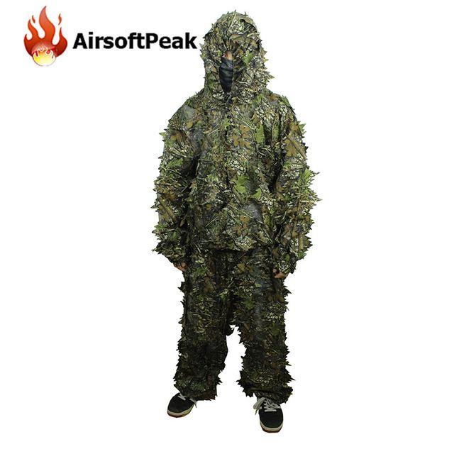 3D маскировка листьев Охота Тактическая камуфляжная форма Армия легкий и дышащий Мужской Военный костюм