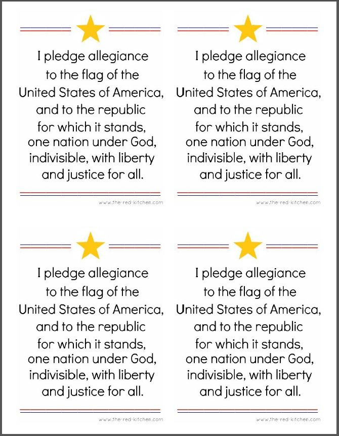 the red kitchen: The Pledge of Allegiance (Free printables for home and classroom use!)