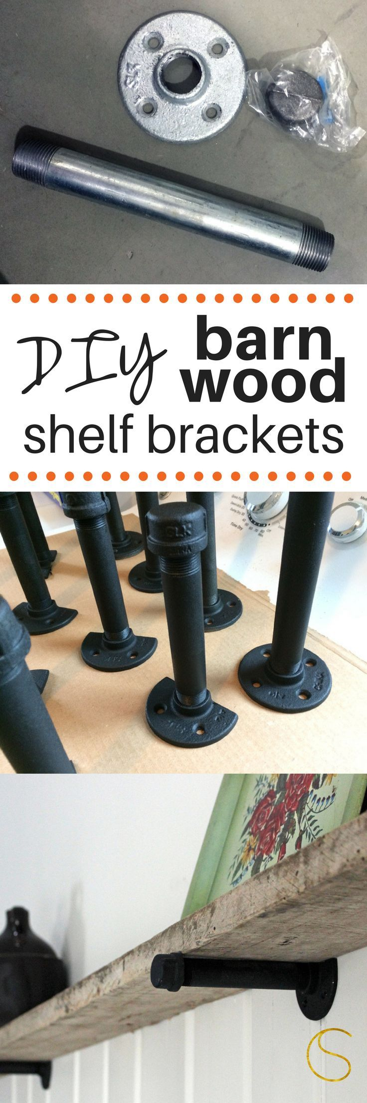 DIY barn wood shelf brackets!  These are easy to make and made with plumbing supplies.  Only three pieces and a bit of spray paint and you're on your way to your own custom barn wood shelf!