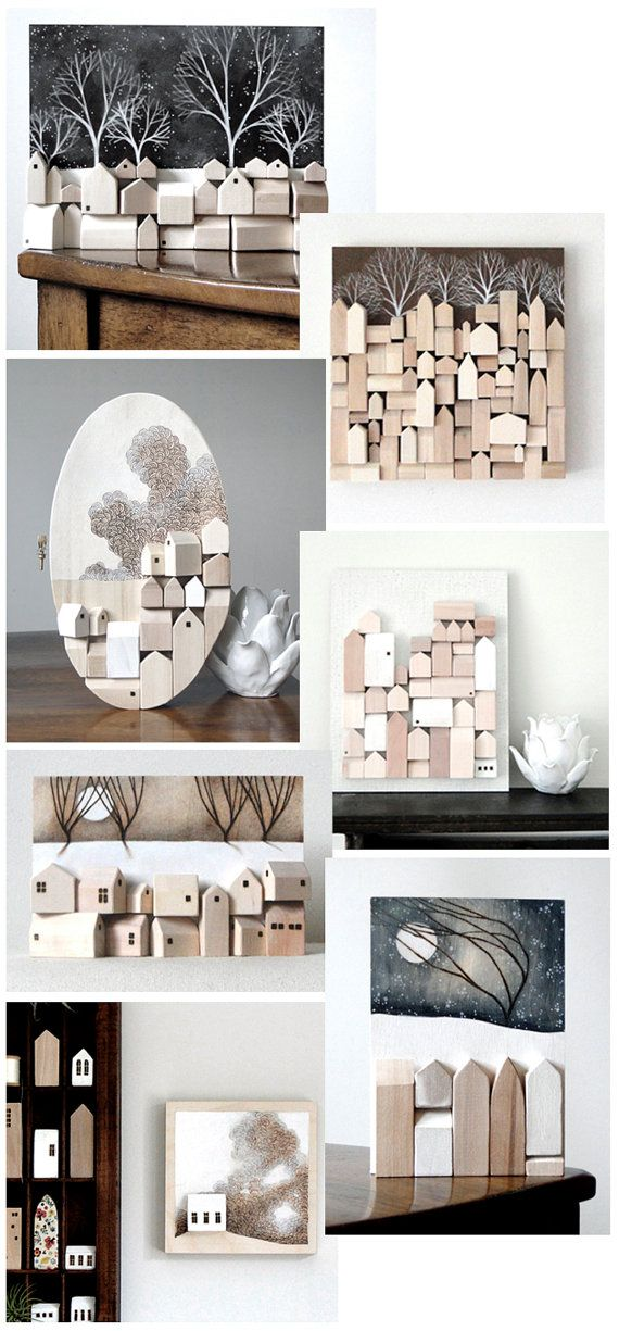 the work of TheHauntedHollowTree on Etsy. Create 3D homes to create the desired 3D effect on the wall