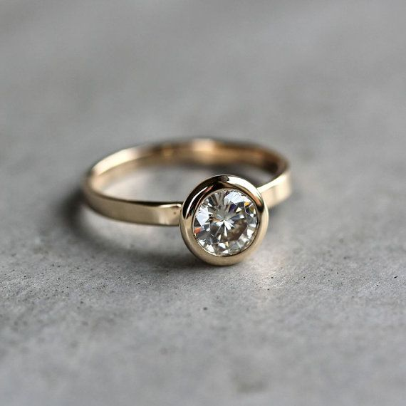 Moissanite Engagement Ring Conflict Free Alternative by TheSlyFox