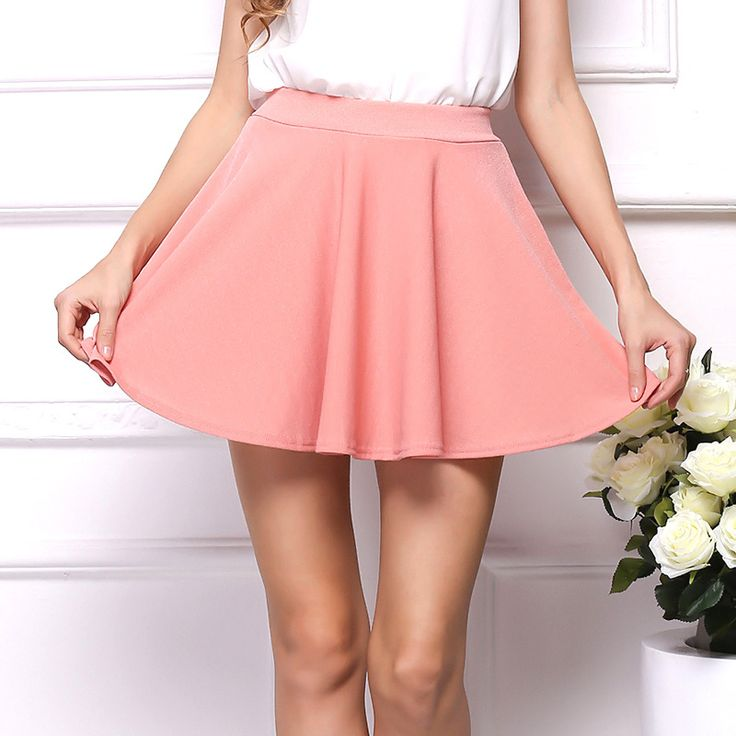 Summer elastic Faldas Ladies Skirt Sexy Girls Mini Pleated Skirts Saias  Plus Size Women High Waist Skirt  Pleated Sunny Female