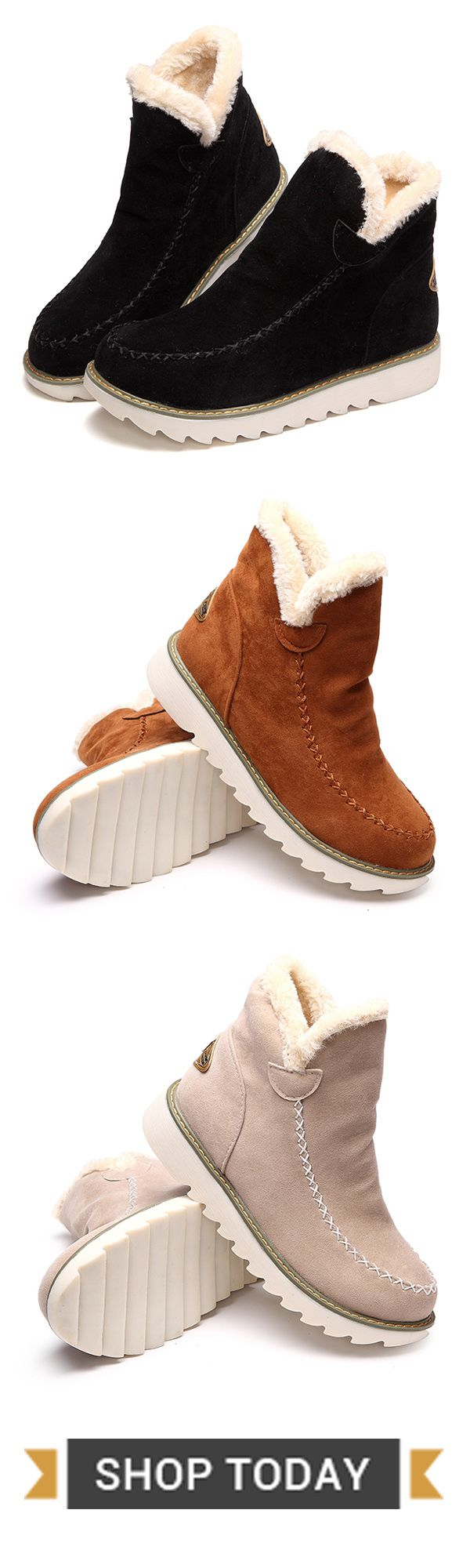 US$23.89  Big Size Pure Color Warm Fur Lining Winter Ankle Snow Boots For Women