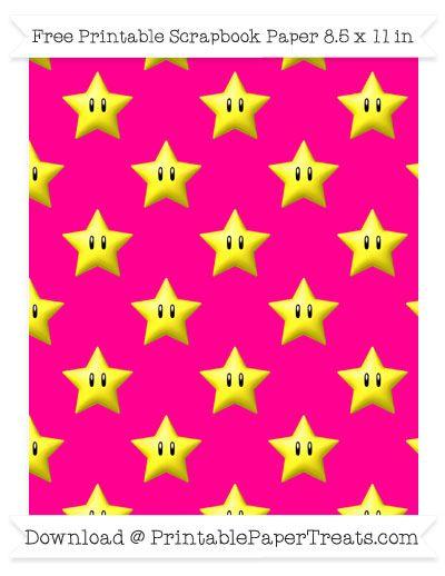 Free Magenta Large Mario Star Pattern Paper - Super Mario Bros