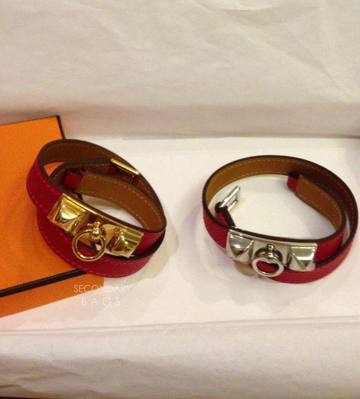 (BNIB) Hermès Rivale Double Tour Rouge Cassaque Ghw sz M #P Vs (BNIB) Hermès Rivale Double Tour Rouge Cassaque Phw sz XS #P