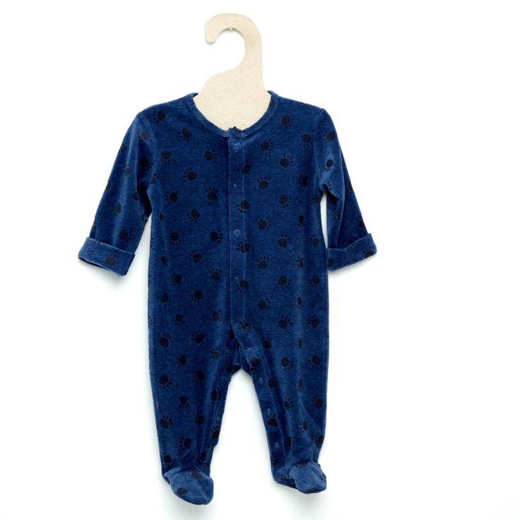 Pyjama en velours                                                                                                                                                                                                  bleu Bébé garçon