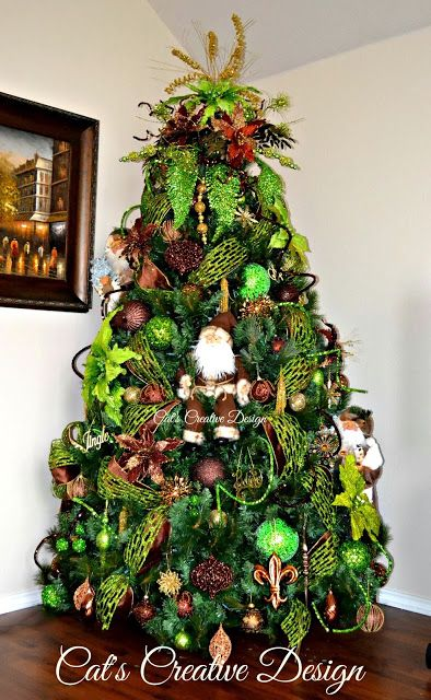 Christmas Tree in Chocolate Brown, Lime Green and touches of Gold without  lights on @