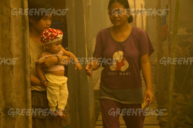 Haze in Central Kalimantan Ema (13) holds her brother Ading (7 months old) who suffers from respiratory tract infections at Sei Ahass village, Kapuas district, Central Kalimantan province on Borneo island, Indonesia. Forest fires are a threat to the health of millions. Smoke from landscape fires kills an estimated 110,000 people every year across Southeast Asia, mostly as a result of heart and lung problems, and weakening newborn babies.