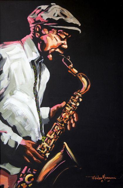 The Saxophonist by Tshidzo Mangena. Acrylic on canvas. https://www.facebook.com/akwaabaafricanart