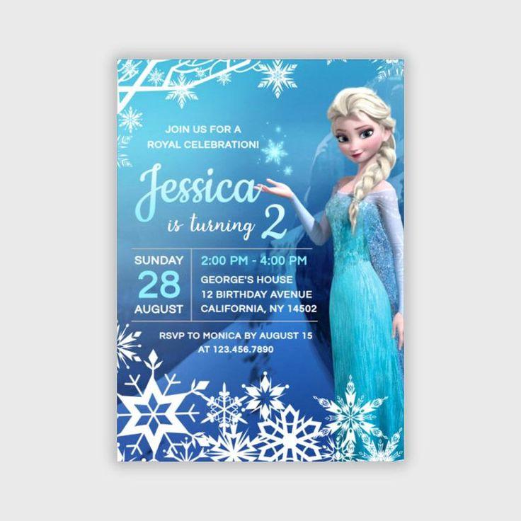 Frozen Princess Elsa Girl Birthday Invitation Winter Snow