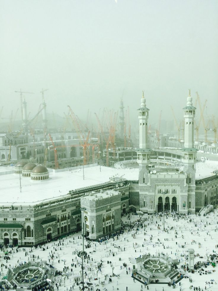 A mild sandstorm blowing over the Grand Masjidil Al Haram Mosque in Mecca