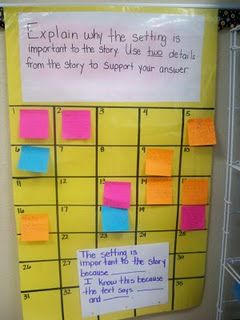 how to organize sticky notes...replace top with new question as needed...good for exit questions...use to assess student progress