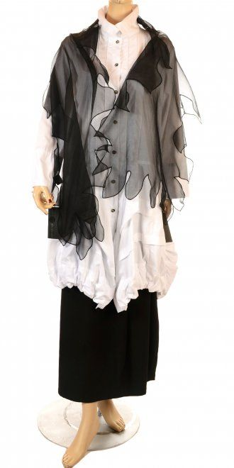 Truly striking scarf created in the finest black chiffon, with seamed satin edging. A fabulous multi-point shape, add a touch of drama to your outfit, dress up for winter evenings and occasions, a wonderful piece. www.idaretobe.com