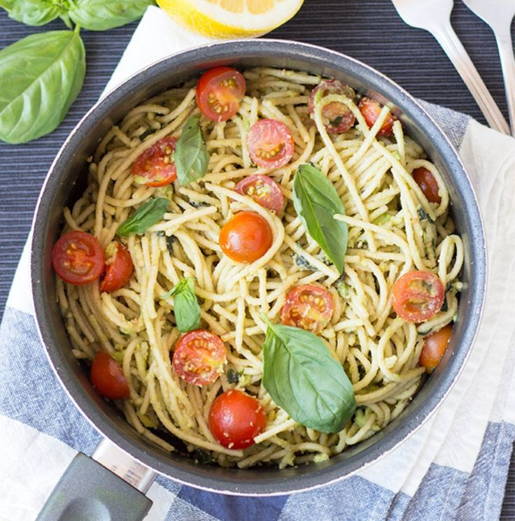Avocado adds a dose of healthy, filling fat and satisfying texture to this vegan pasta recipe. Bonus? It only takes 15 minutes to throw together. Get the recipe here. Per one serving: 600 calories, 17 grams protein