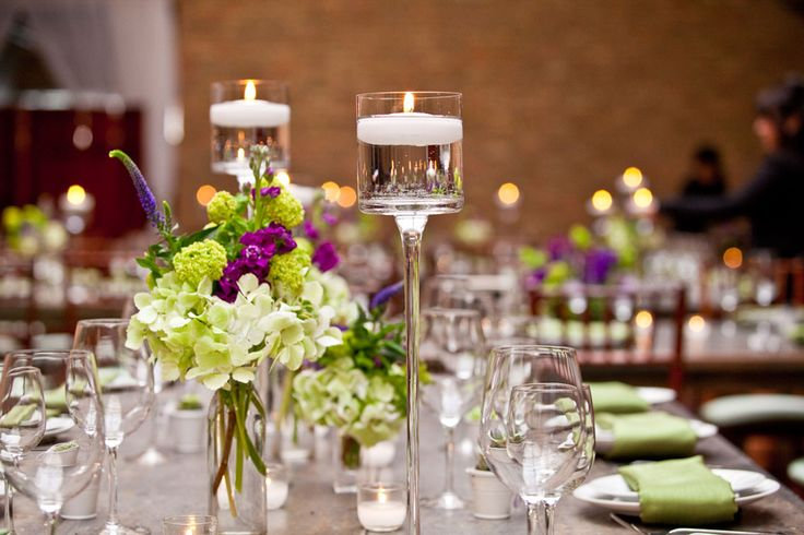 purple & green floral decor