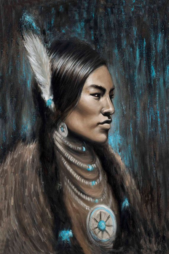 Native American Indian artwork oil painting print by travisknight