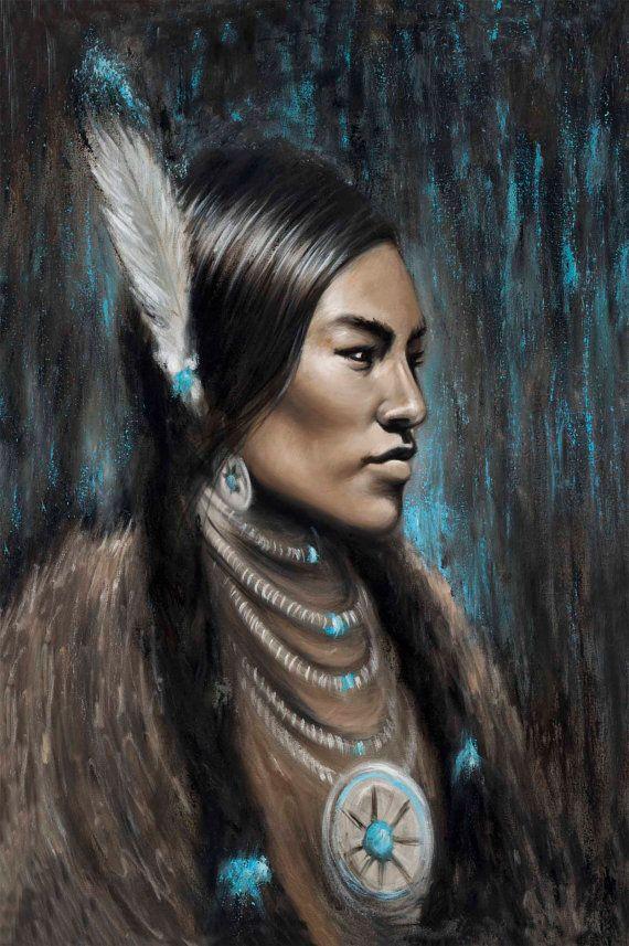 Pocahontas painting Native American Indian artwork canvas print