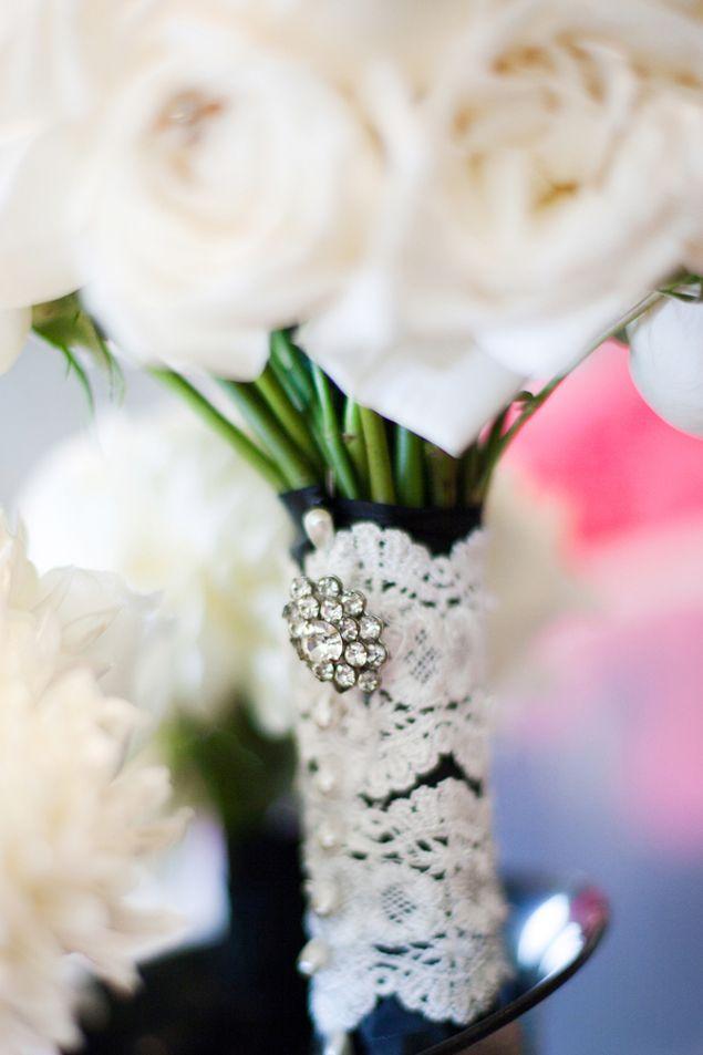Lace wedding bouquet detail