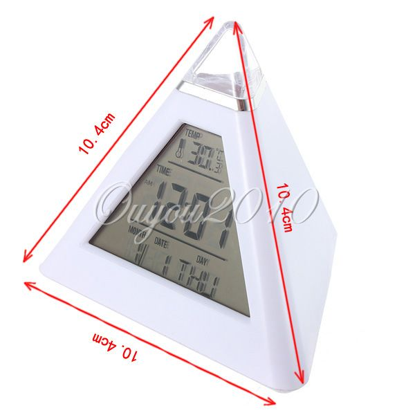 Pyramide Digital LED LCD Reveil Matin Thermomètre Horloge Alarm Clock 7 Couleur | eBay