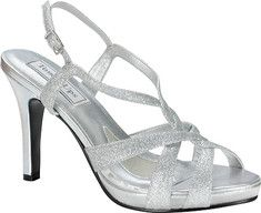 The Dina is a sexy strappy high heeled glitter metallic sandal with adjustable ankle straps and a 3 1/4  heel.