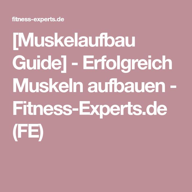 [Muskelaufbau Guide] - Erfolgreich Muskeln aufbauen - Fitness-Experts.de (FE)