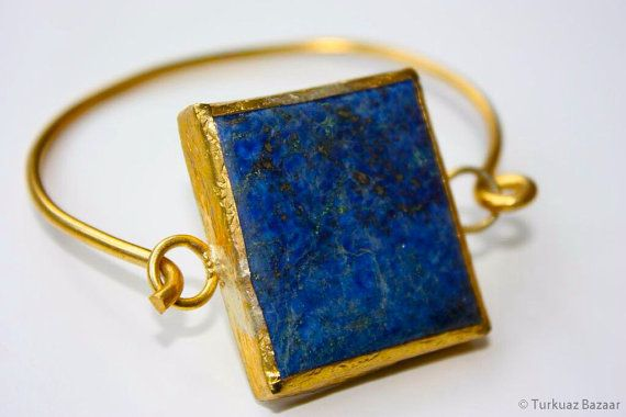 Ayse Lapis Lazuli Bangle Handcrafted in 22k Gold by TurkuazBazaar, $70.00