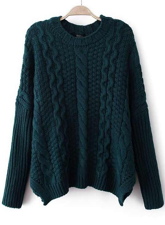 Green Long Sleeve Cable Knit Loose Sweater US$33.44