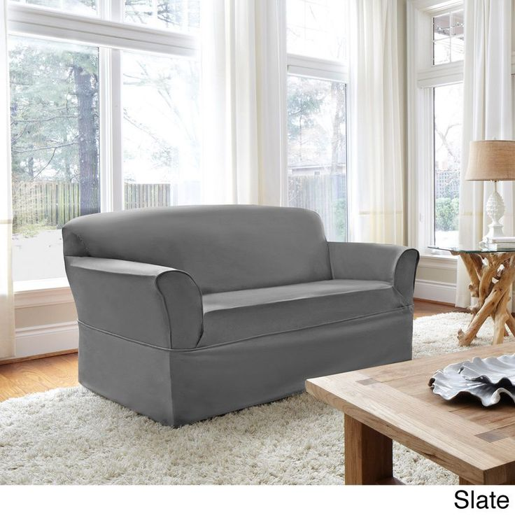 Global CoverWorks Tara Twill 1-Piece Relaxed Fit Loveseat Slipcover